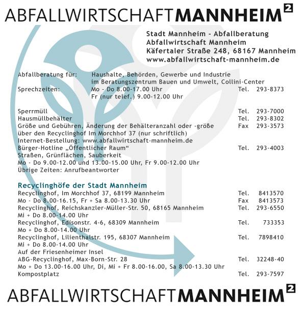 Abfallwirtschaft Mannheim - Tel. 293-8373