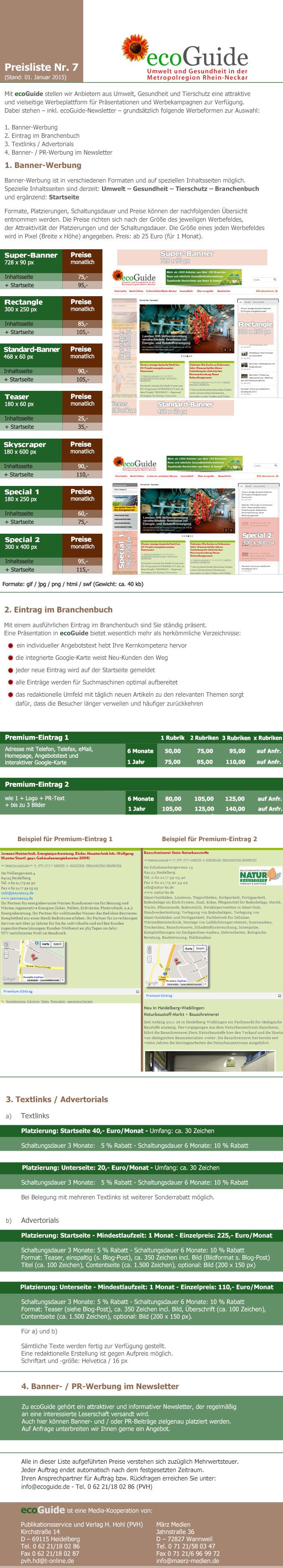 ecoGuide - Mediadaten - Stand: 1. Januar 2015