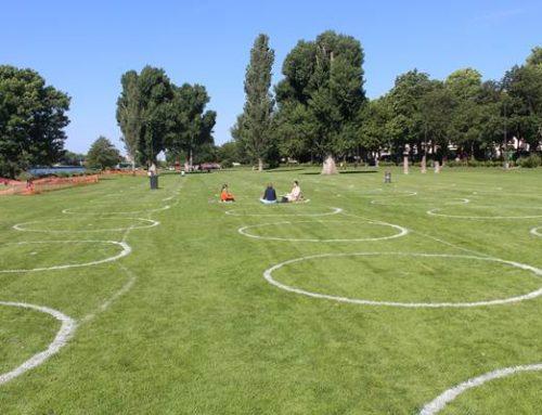 Neckarwiese in Heidelberg: Kreise bieten Orientierungshilfe beim Abstandhalten